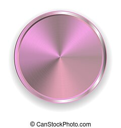 realistic metal pink button