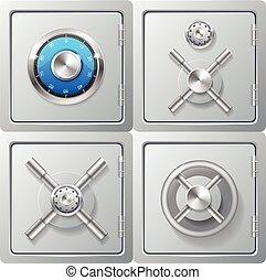 Realistic Metal Safe Set. Vector