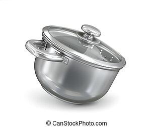 realistic metal saucepan. 3d illustration