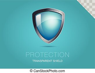 Realistic metal shield with transparent armored glass. Vector illustration of a protection or security. Blue background.