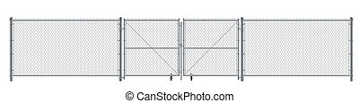 Realistic metal wire fence and gate. Prison barrier or security fence.