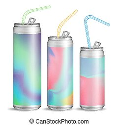 Realistic Metallic Can Vector. Soft Energy Drink. 3D...