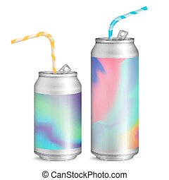 Realistic Metallic Cans Vector. Soft Drink. 3D Blank...