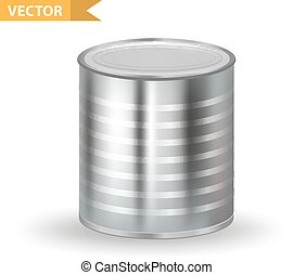 Realistic Metallic Tin Cans. 3d Tins containers. Isolated on white background. Mock-up design for your product packing Canned Food. Vector illustration.
