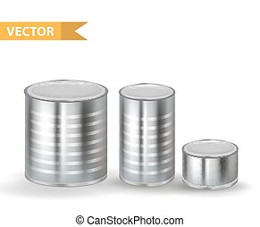 Realistic Metallic Tin Cans set. 3d Tins Containers Collection. Isolated on white background. Mock-up design for your product packing Canned Food. Vector illustration.