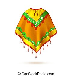 Realistic mexican, native american indian poncho. Ethnic...