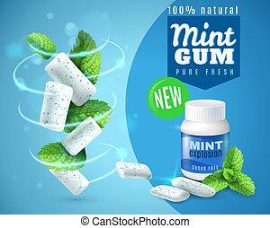Realistic Mint Gum Poster