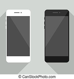 Realistic mobile phone collection in new iphone style. White and black smartphone with shadow isolated on gray background. Cellphone template for your design, web site, development app.