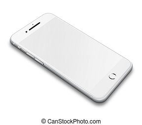 Realistic mobile phone isolated on white background.