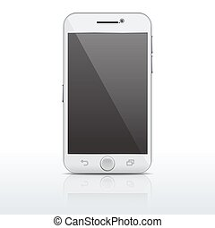 Realistic mobile phone, smartphone vector template, mockup with empty screen