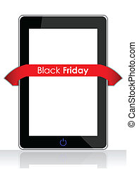 Realistic mobile phone with a special red black friday...