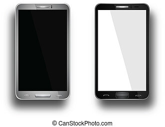 Realistic mobile phone with blank screen isolated on white, Vector