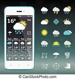 Realistic mobile phone with weather forecast widget and icons