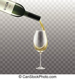 Realistic mockup - bottle with glass of white wine vector illustration isolated.