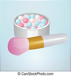 Realistic mockup open bronzing pearls box with makeup brush applicator. Vector illustration.