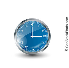 Realistic modern clock isolated on white background