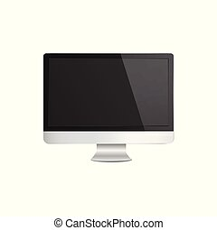 Realistic modern silver computer monitor mockup with blank black screen