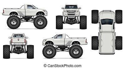 Realistic monster truck vector mock-up