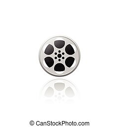 Realistic movie film reel vector illustration