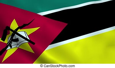 Realistic Mozambique flag