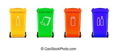 Realistic multi colored trash cans isolated on white background. Trash cans with icons for sorting types of garbage.