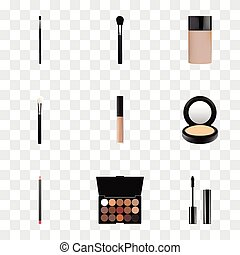 Realistic Multicolored Palette, Eyelashes Ink, Make-Up Product And Other Vector Elements. Set Of Cosmetics Realistic Symbols Also Includes Skincare, Eyelashes, Face Objects.
