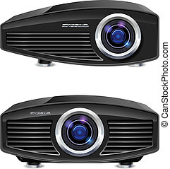 Realistic multimedia projector. Illustration on white...