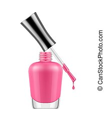 Realistic nail polish bottle. Pink polish nail bottle with...