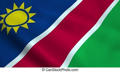 Realistic Namibia flag waving in the wind. Seamless looping.