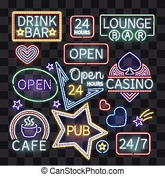 Realistic neon bar illumination signs isolated on transparent background