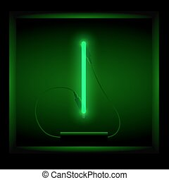 Realistic neon letter I vector illustration. Glowing font....