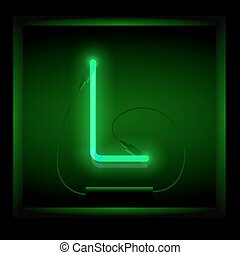 Realistic neon letter L vector illustration. Glowing font....