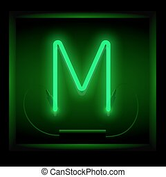 Realistic neon letter M vector illustration. Glowing font....