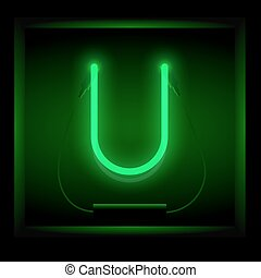 Realistic neon letter U vector illustration. Glowing font....