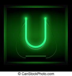 Realistic neon letter U vector illustration. Glowing font....
