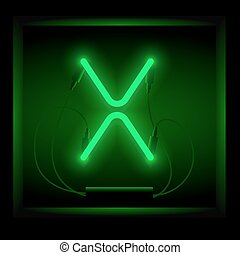 Realistic neon letter X vector illustration. Glowing font....
