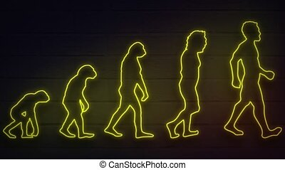 realistic neon man evolution for decoration and covering on ...