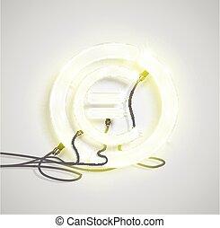 Realistic neon money sign, vector illustration