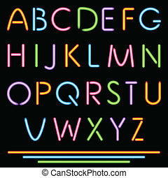 Realistic Neon Tube Letters. Alphabet, ABC, Font. Multicolor. Vector. No Mesh Used.