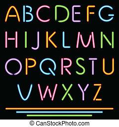 Realistic Neon Tube Letters. Alphabet, ABC, Font....