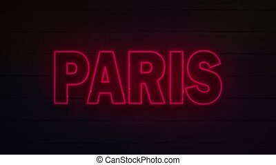 realistic neon written paris for decoration and covering on ...