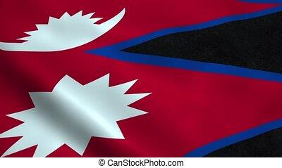 Realistic Nepal flag
