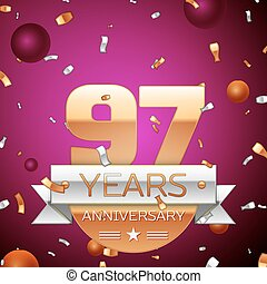 Realistic Ninety seven Years Anniversary Celebration Design. Golden numbers and silver ribbon, confetti on purple background. Colorful Vector template elements for your birthday party