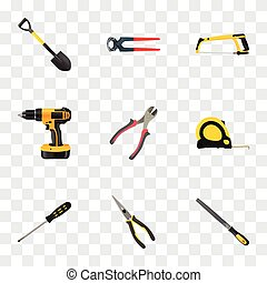 Realistic Nippers, Electric Screwdriver, Length Roulette And Other Vector Elements. Set Of Tools Realistic Symbols Also Includes Tool, Tongs, Nippers Objects.