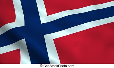 Realistic Norwegian flag waving in the wind. Seamless...