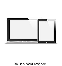 Realistic Notebook And Tablet PC With Blank Screen. With Reflection. Isolated On White Background. Vector Illustration