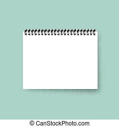 Realistic notebook. Calendar template. Blank cover design. Mock up notebooks.