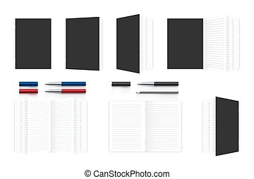 Realistic notebook organizer mockup template, pen and pencil illustration isolated on white background, with copy space, vector eps 10