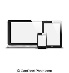 Realistic Notebook, Smart Phone And Tablet PC With Blank Screen. With Reflection. Isolated On White Background. Vector Illustration