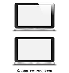 Realistic Notebook With Blank Screen. With And Without Reflection. Isolated On White Background. Vector Illustration